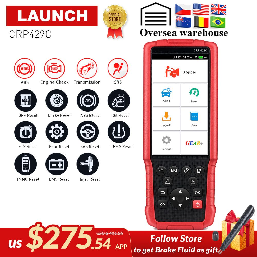 LAUNCH X431 CRP429C OBD2 Code Reader for Engine/ABS/Airbag/AT test +11 Service CRP 429C Auto diagnostic tool PK CRP129 TOUCH PRO