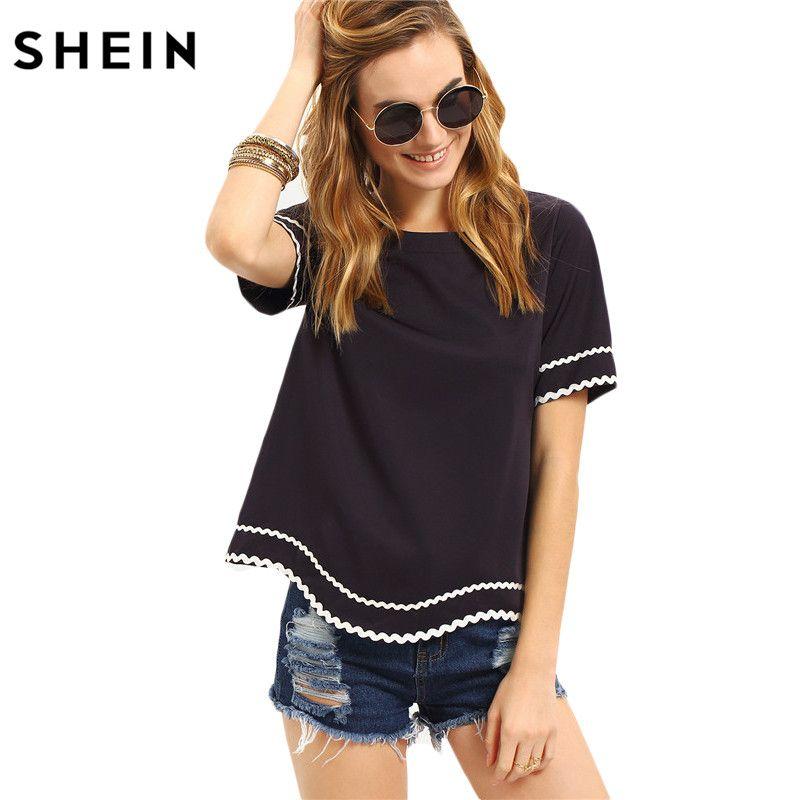 SHEIN Women New Arrival Fashion Tops Ladies Tee Shirts Round Neck Navy <font><b>Waved</b></font> Print Trim Short Sleeve Casual T-shirt
