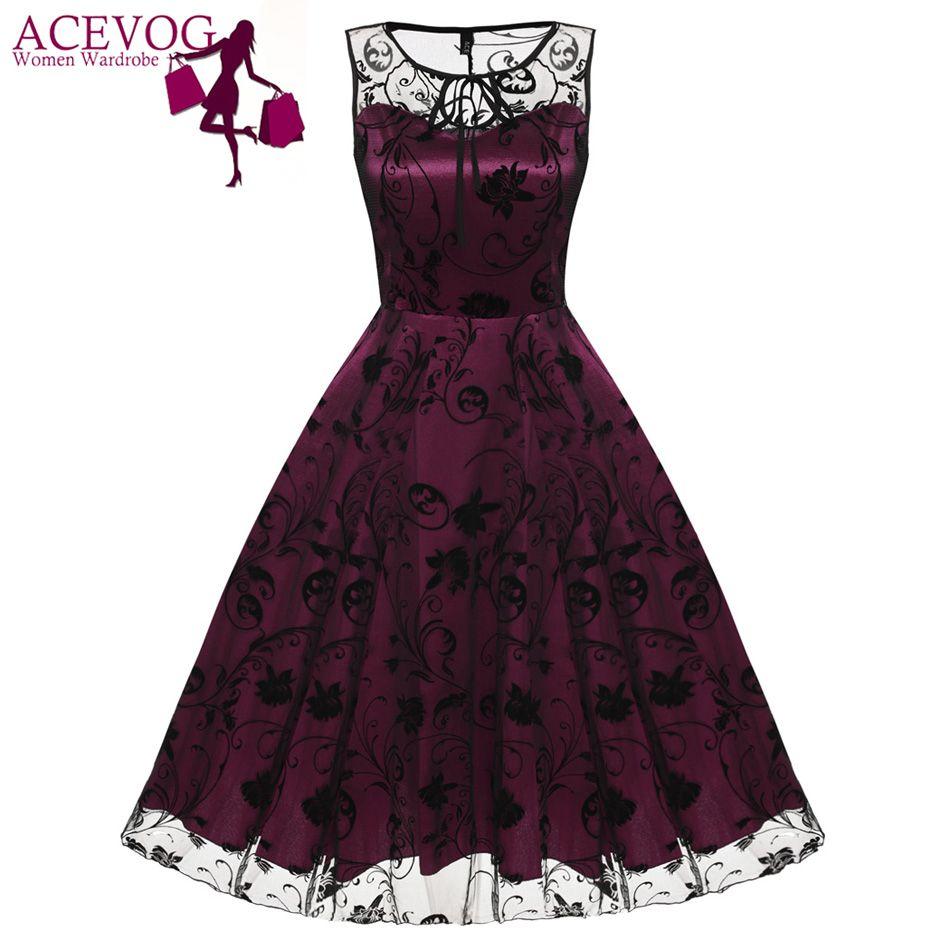 ACEVOG Retro Women Vintage Style Sleeveless Mesh Embroidery Long Cocktail Party Dresses Flower Skull <font><b>Ball</b></font> Grown Party Femme Robe
