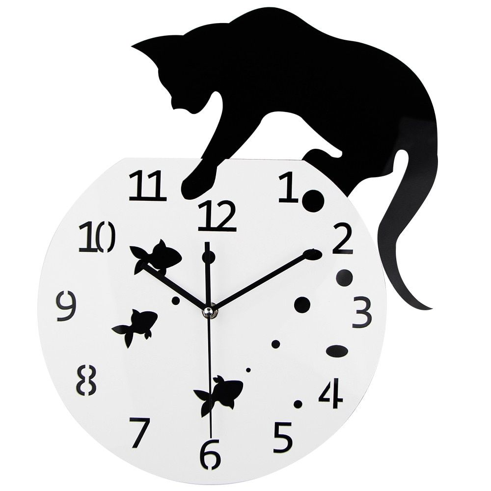 3D Home Decor Acrylic Wall Clock Cat and Fish Design Big Watch Quartz Cat Clock Living Room Decorative clocks