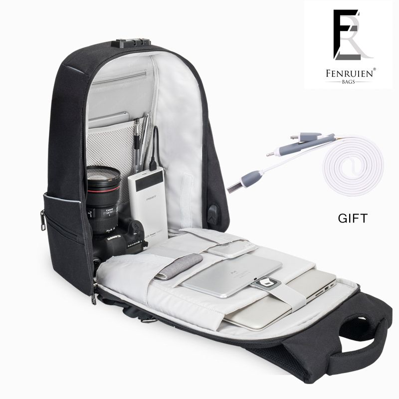 FRN New Men Backpack 15.6'' Antitheft Laptop Backpack Fashion Waterproof Business Travel Backpack School Bag with Usb Charger