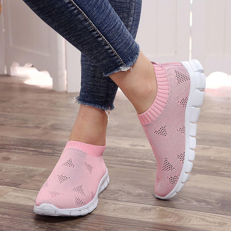 Rimocy grande taille respirant air mesh baskets femmes 2019 printemps été sans lacet plate-forme à tricoter appartements doux marche chaussures femme