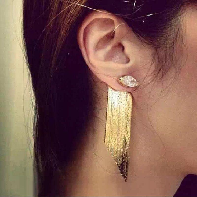 Déclaration gland longues boucles d'oreilles pour les femmes bijoux 2017 trendy bijoux de partie de mode en gros or-couleur mignon cadeau