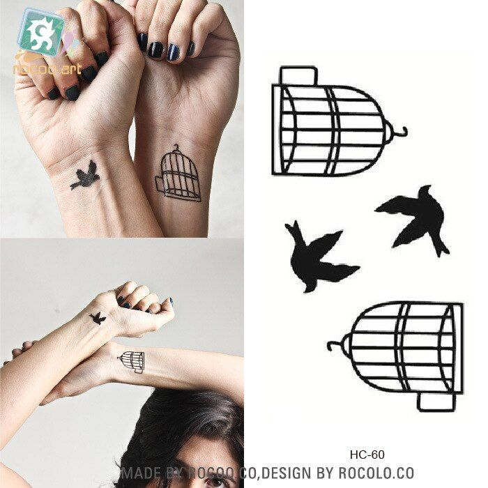 5 pcs Rushed Special Offer Temporary Tattoo Jewelry Sales Waterproof Tattoo Lovers And Bird Cage Small Fresh Figure Hc1060