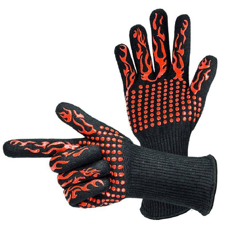 1 paire résistant à la chaleur en Silicone épais cuisson cuisson Barbecue four gants BBQ Grill moufles plat lavage gants cuisine Su