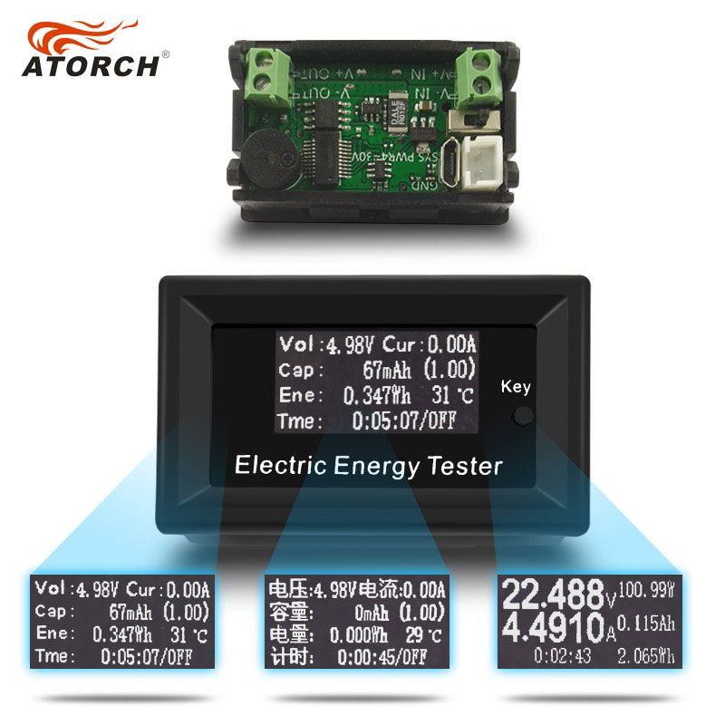 ATORCH DC Numérique Voltmètre Tension Courant Indicateur LCD D'énergie testeur ampèremètre batterie alimentation capacité détection 100 V 15A