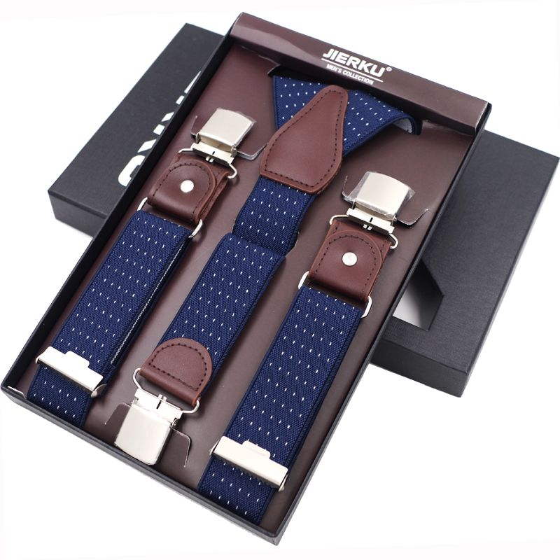 New Man's Suspenders 3 Clips Leather Braces Casual Suspensorios <font><b>Trousers</b></font> Strap 3.5*120cm Gift For Dad High Quality Tirantes