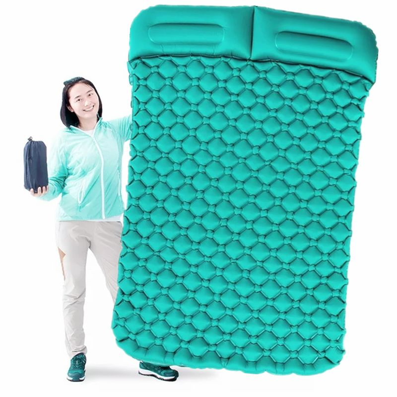 Tent Air Camping Mats Inflatable Cushion Double Outdoor 2 person Picnic Beach Two Plaid Blanket baby Pad Home Rest Soft Mattress