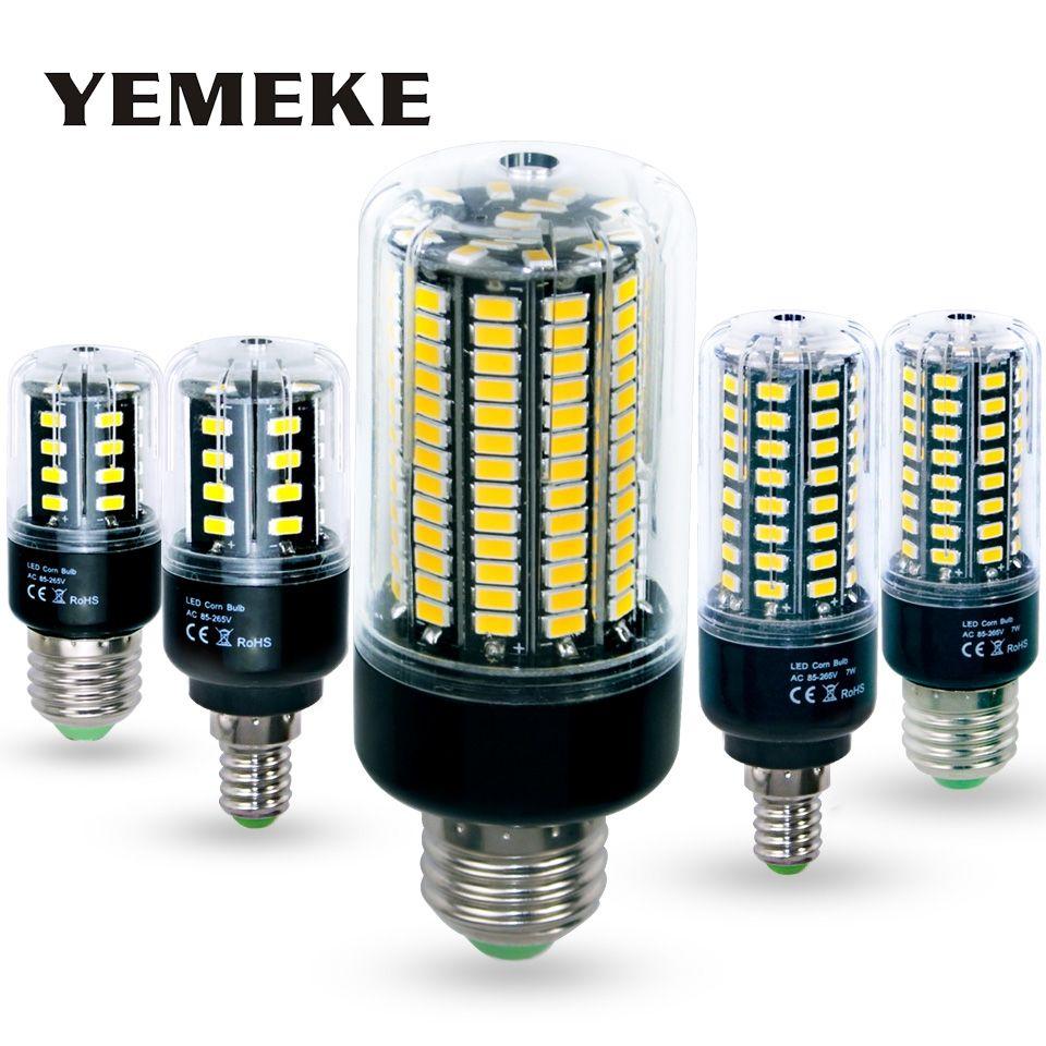 Bombillas светодиодные лампы E27 SMD 5736 Lamparas свет 28 40 72 108 132 156 светодиодов лампада Светодиодная лампа E14 85-265 В ампулы свечи Luz