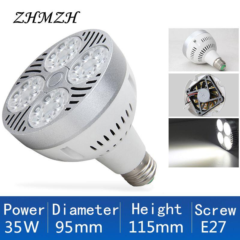 220 V E27 PAR30 LED Lampe Ampoule 35 W Nouveau Ultra Lumineux LED Lumière Lampara Intégré Ventilateur De Refroidissement Pour La Piste Éclairage Spot Spotlight