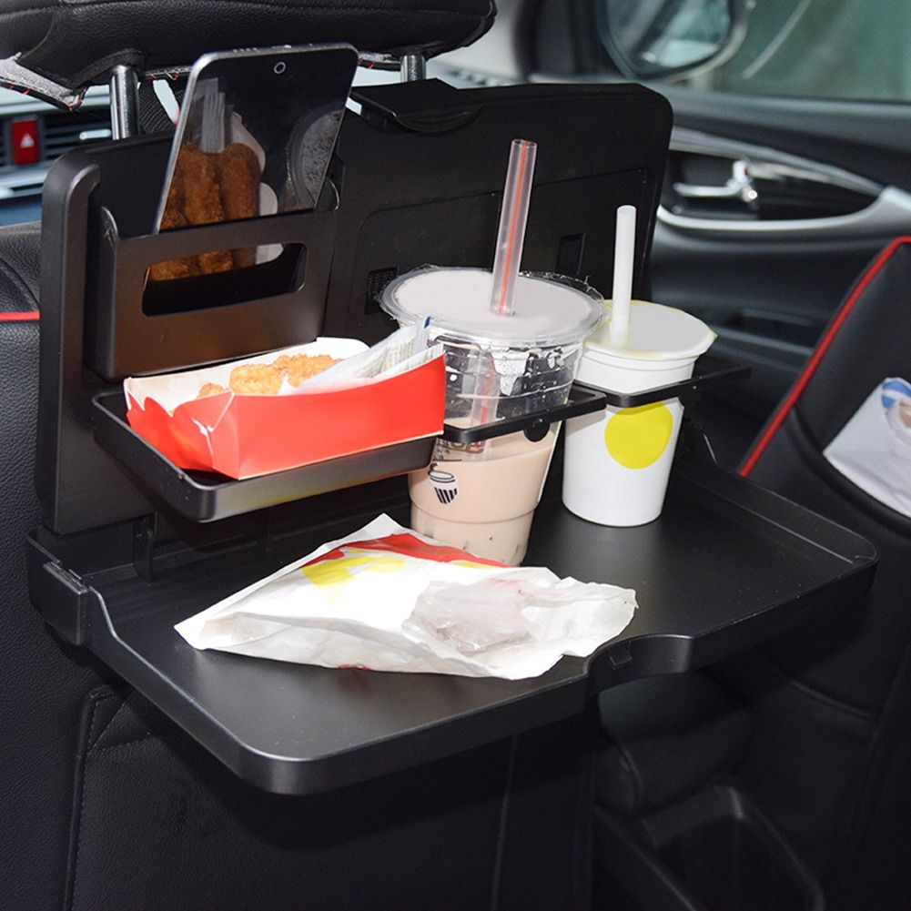 Universal Black Car Folding Table Food Tray Dining Drink Holder Car Pallet Car Cup Holder ABS Car Kit DiningTray Easy Cleaning