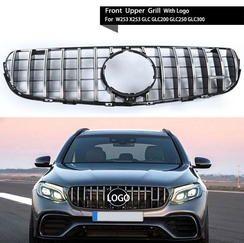 Car Racing Grille For Mercedes Benz W253 X253 GLC GLC250 GLC200 GLC250 2014-2017 AMG Style Grill Chrome With Logo Front Radiator