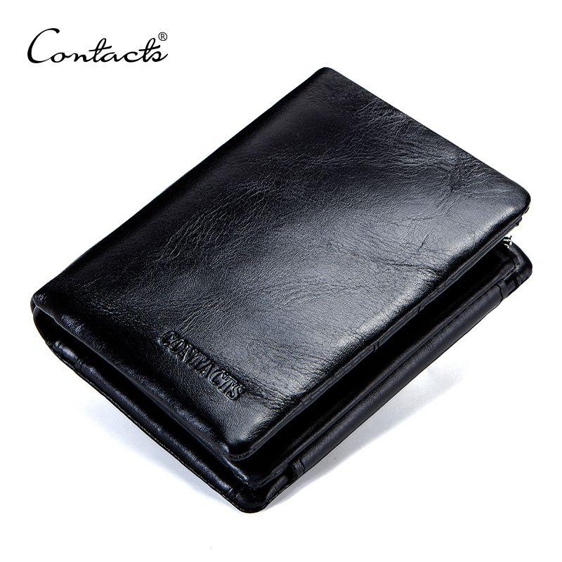 CONTACT'S véritable cuir de vachette hommes portefeuille à trois volets portefeuilles de conception de mode marque sac à main porte-carte d'identité avec fermeture à glissière Coin poche