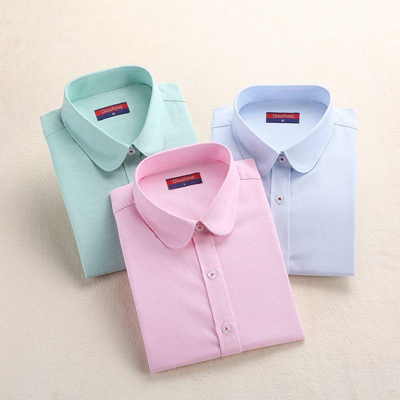 Femmes Blouse 2019 mode femmes Oxford chemise mince à manches longues Blouse col rabattu Simple couleur unie Twill printemps et automne