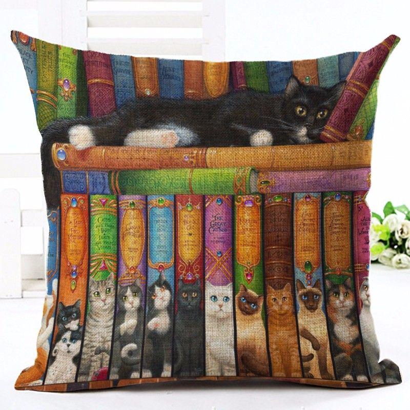 Neue Europäische Art Nette Katze Party Cushion Kundengebundene Dekokissen Heim Dekorative Baumwolle Leinen Platz Druck Cojines