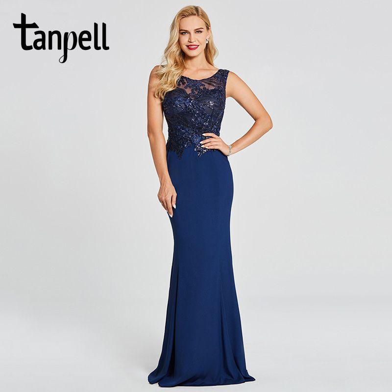 Tanpell sirena vestido de noche oscuro azul real sin mangas scoop piso-longitud vestido de las mujeres bordado con cuentas vestidos de noche formales