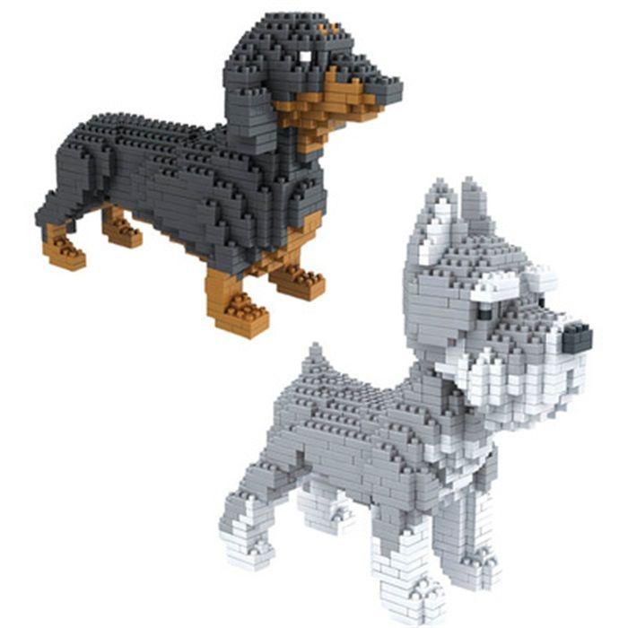 Сборки блоки животных модель игрушка собака мини-блок такса Алмазные Кирпичи schnauzer дети подарки Рождество подарок