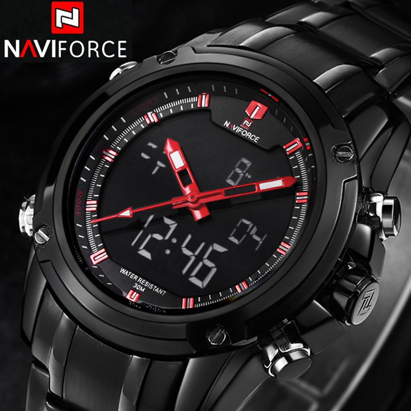 NAVIFORCE Sport Clock Men's Quartz Wrist Watch Military Watch For Men Full Steel Men Watch Relogio masculino Reloj Hombre 2016