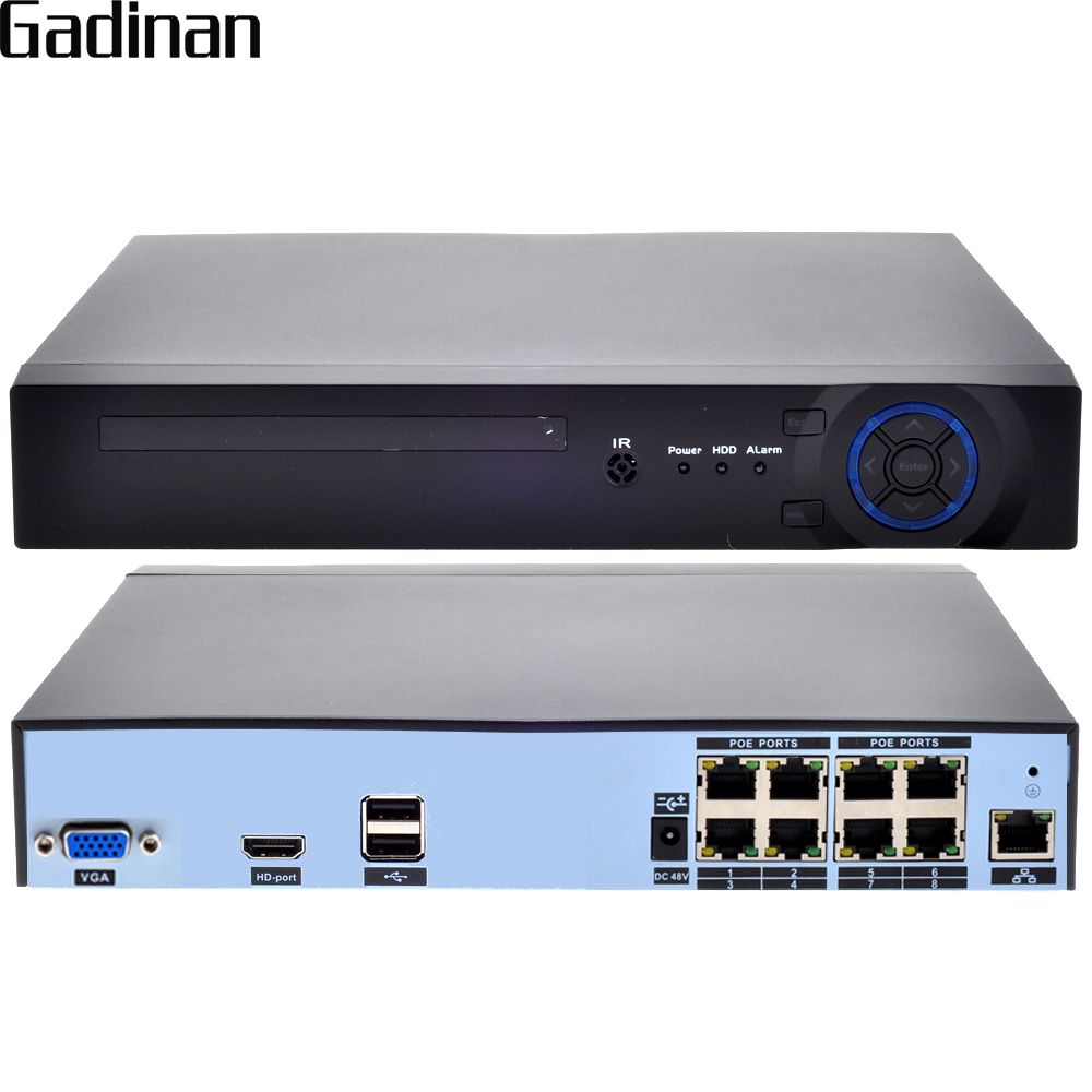 GADINAN H.265 H.264 8CH 48V POE IP Camera NVR Security Surveillance CCTV System P2P ONVIF 4*5MP/ 8*4MP ONVIF Real Time XMEye P2P