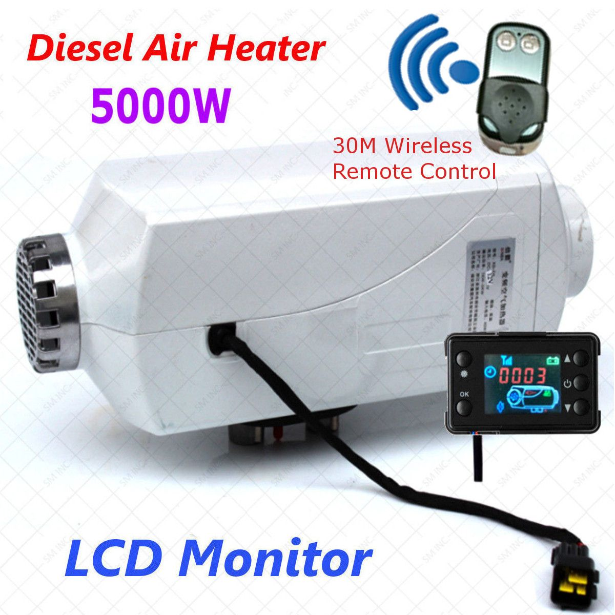 Car Heater 5000W Air diesel- Heater LCD Monitor 5KW 12V for trucks motor-homes boats bus With Renote Control