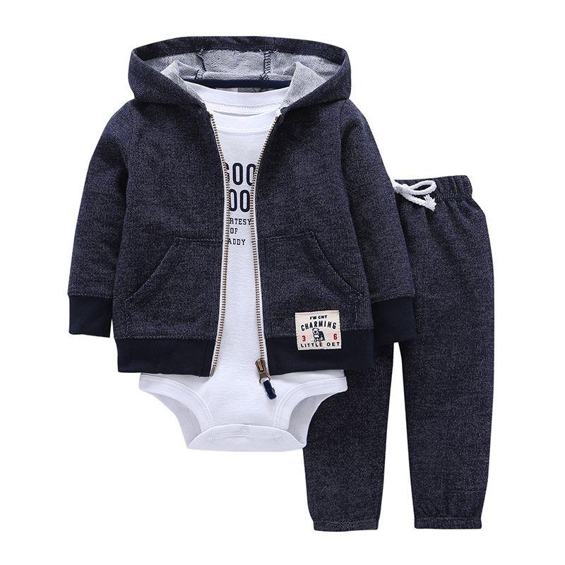 2017 Bebes для маленьких мальчиков комплект одежды для девочек комбинезоны Bebes хлопок кардиган с капюшоном + брюки + тело 3 1 предмет Одежда для но...