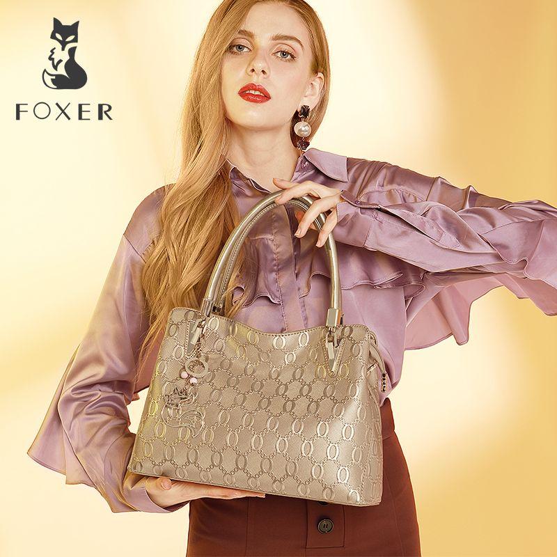 FOXER Women's Cow Leather Shoulder bag Crossbody Bags Female Fashion Tote Handbag All-match Top-handle Bag Purse