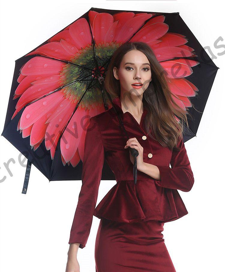 3pcs get 1 pcs free Fiberglass windproof 5 times black coating anti-UV parasol pocket mini folding daisy flowers print umbrella
