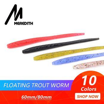 MEREDITH Slow SinkingTrout мягкие приманки в виде червей 60 мм 80 мм искусственные рыболовные приманки для морского червя земляной червь рыболовные мягки...
