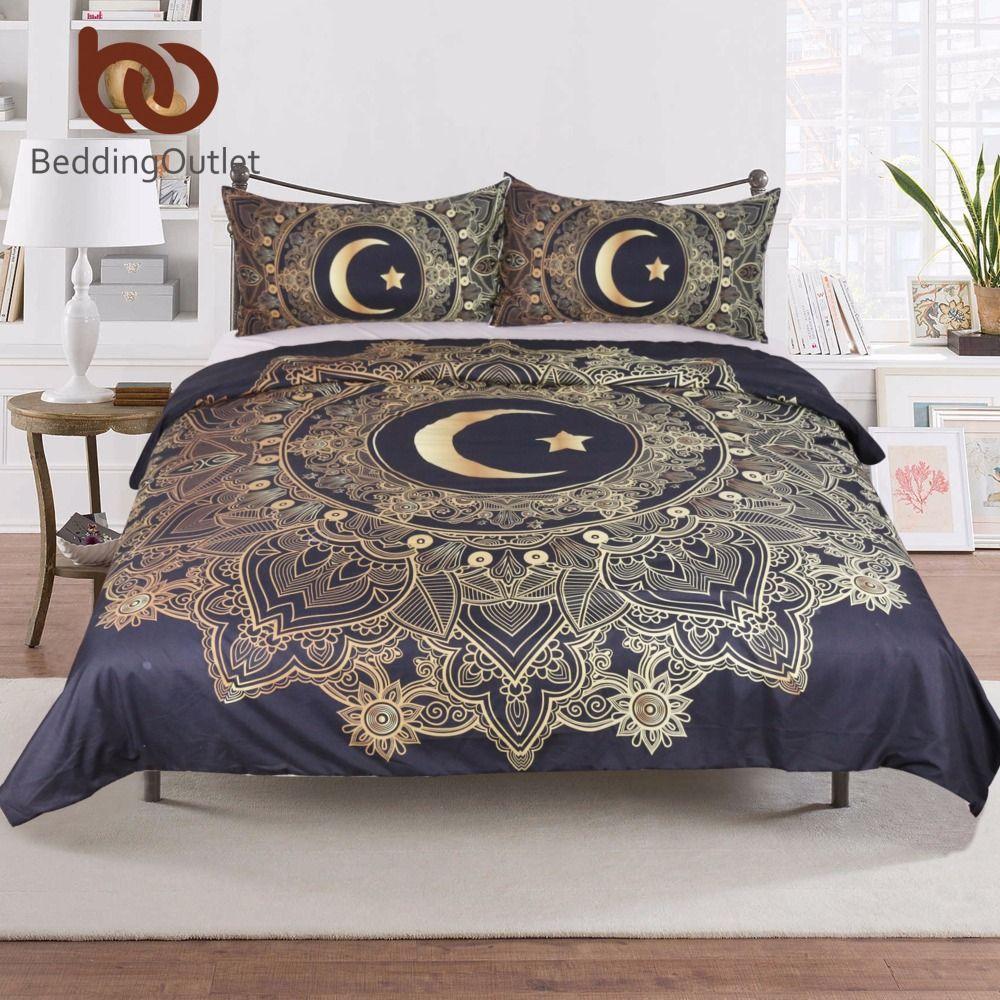 BeddingOutlet 3 Pcs Golden Mandala Flowers Star <font><b>Moon</b></font> Duvet Cover Black Dark Blue Bedding Set Soft Quilt Cover Single Bed Cover