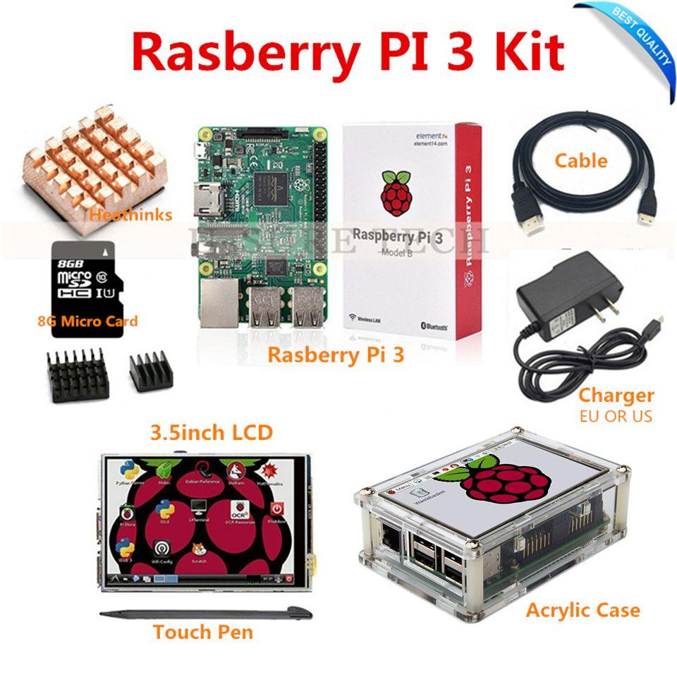 Framboise Ip3 Pi 3 Modèle B Conseil + 3.5 TFT LCD + 8 GB TF Carte + 2.5A Alimentation (de L'UE OU des ÉTATS-UNIS) + Acrylique Cas + Dissipateurs + HDMI Câble