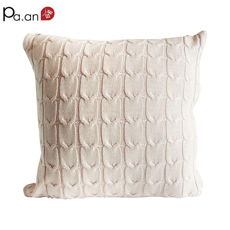 45x45 cm vintage housse de coussin solide tricoté carré beige oreillers case voiture canapé maison de noël approvisionnement livraison gratuite