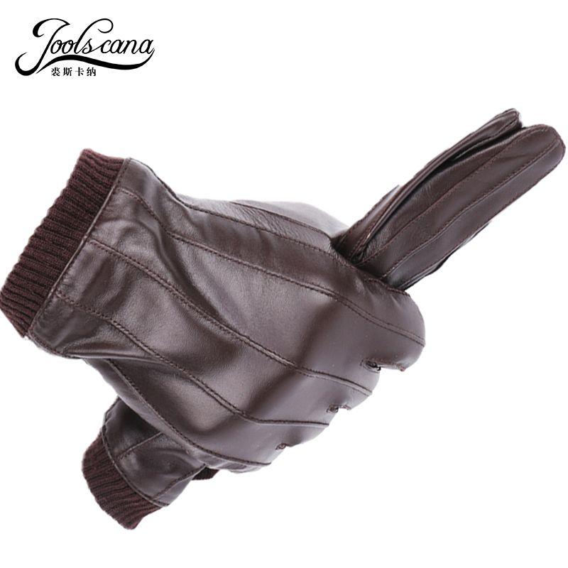 JOOLSCANA gants en cuir pour hommes gants de mode d'hiver en peau de mouton importée italienne peut jouer écran tactile poignet élastique