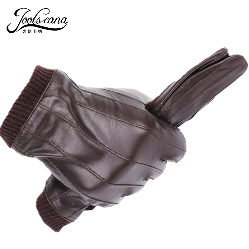 JOOLSCANA leather gloves for men <font><b>winter</b></font> fashion gloves made of Italian imported sheepskin can play touch screen elastic wrist