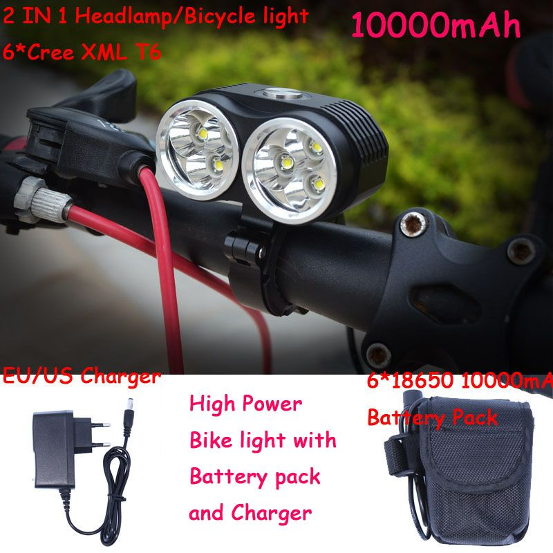 New bicycle lamp bike light 10000LM 6 x XM-L T6 LED Bicycle Light 3 Modes with 6x18650 8.4v 10000mAh Battery Pack + Charger