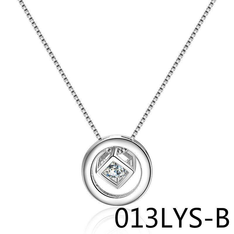 Ornaments Silver Necklace Round Magic Cube Zircon Flash Drilled Korean Version Short Fund Clavicle Chain Pendant 013LYS shouzhuo