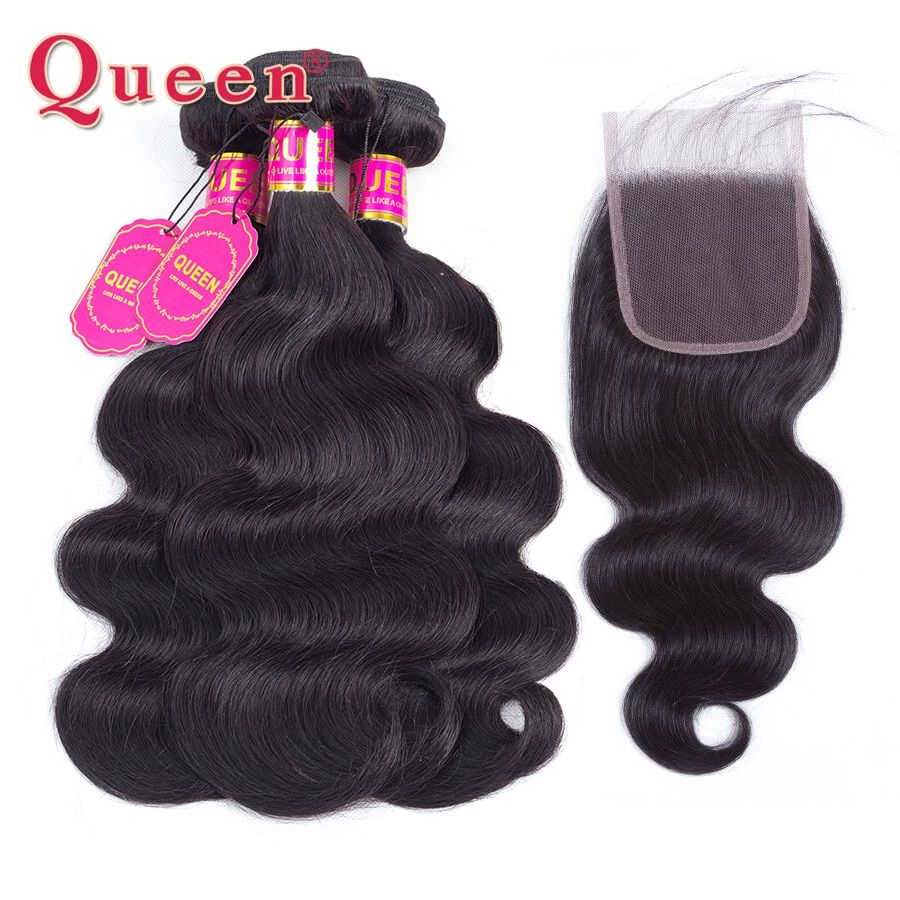 Queen Hair Products Brazilian Body Wave Hair Weave Bundles With Lace Closure Brazilian Human Hair Bundles With Closure Extension