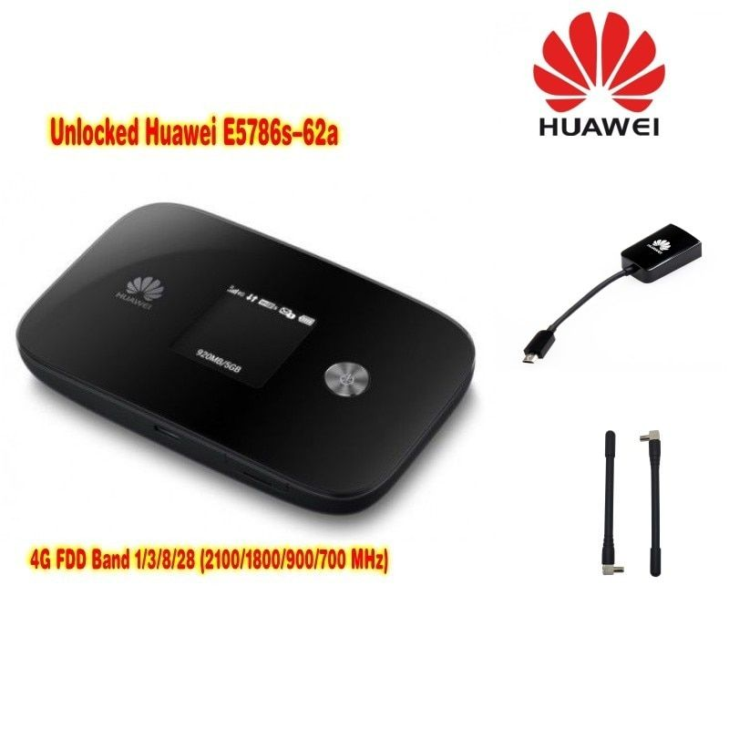 unlocked Huawei E5786 E5786s-62a LTE Cat6 DL300Mbps 4g lte MiFi Mobile pocket Wifi router plus 2pcs antenna+AF10 adapter