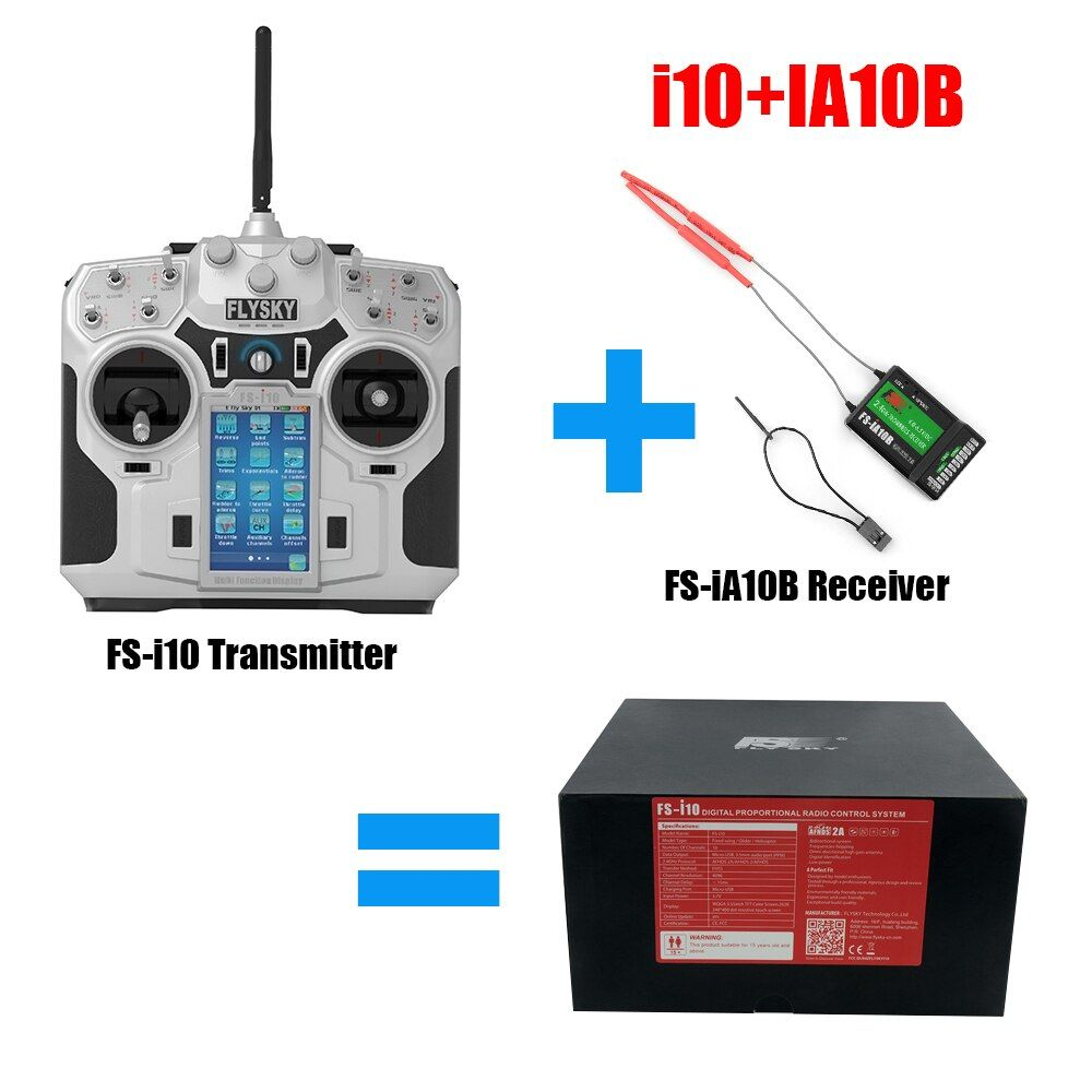 GizmoVine Flysky FS i10 2.4G 10CH LCD Transmitter+FlySky FS-iA10B 2.4G 10CH Receiver For RC Quadcopter drop shipping