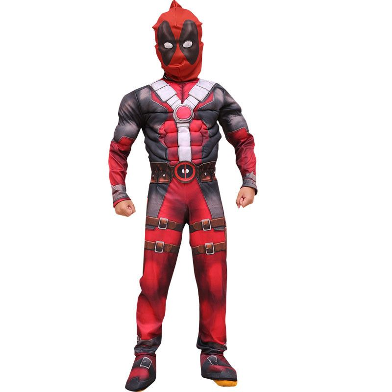 Halloween Deadpool Cosplay Costume Muscle Party Dress with mask onesie red Carnival Svengers Clothing For Kids