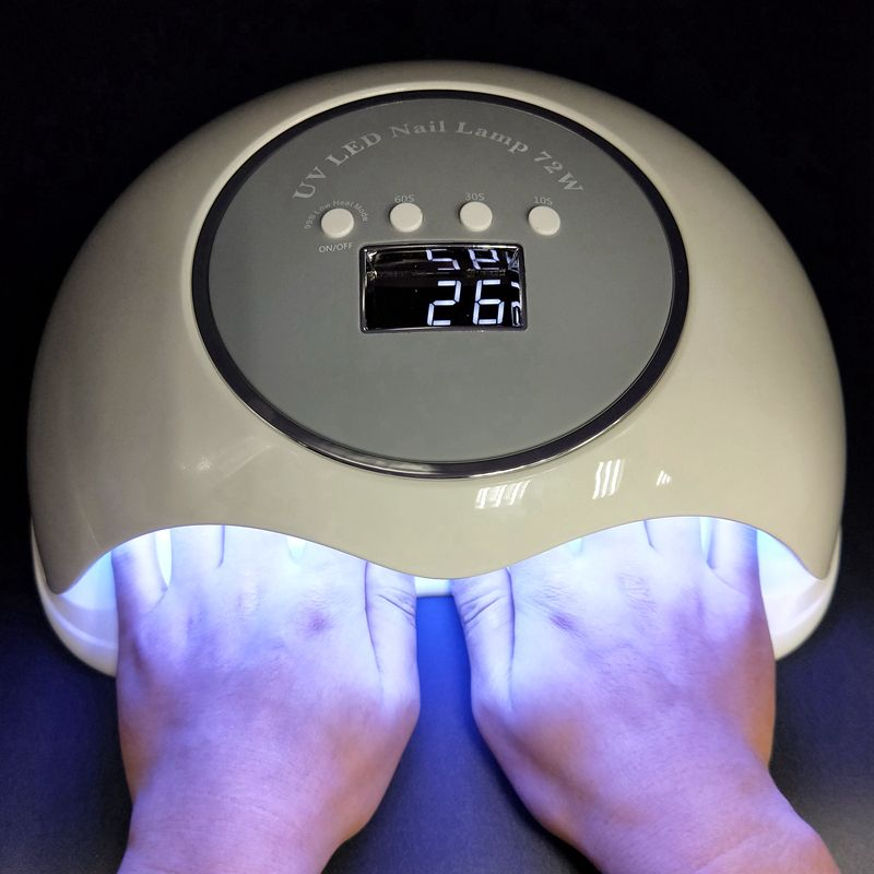 72W Highest Power Nail Lamp Double Light Source Largest Space LED/UV Nail Dryer Light Gel Polish Curing Tool With Motion Sensor