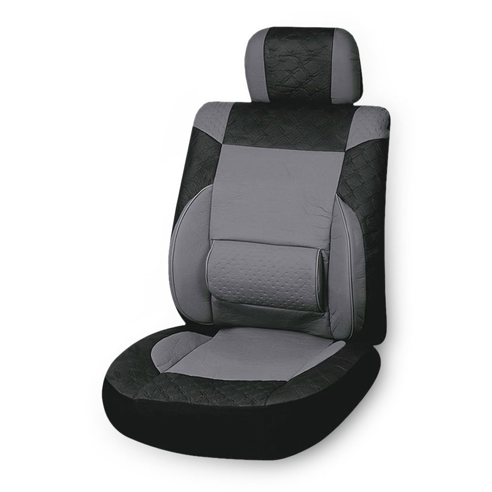 1pc Set Universal Car Seat Cover PU Leather/ PVC Seat Protector Car Interior Accessories Seat Covers Black Gray Color
