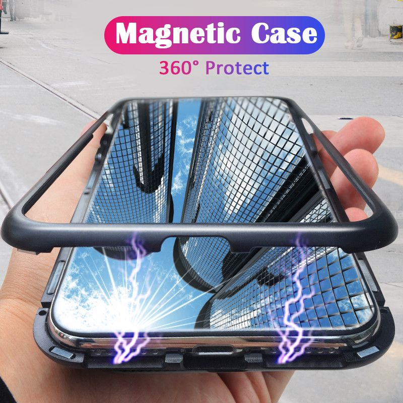 ProElite 360 Magnetic Magnet Adsorption metal Hard Case for iPhone XS Max XR Glass Back Cover for iPhone 7 8+ 6 6S Plus X