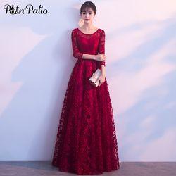 Potn'patio Merah Renda Gaun Malam Elegan O-Leher 3/4 Lengan Di Atas Lutut Panjang Formal Malam Gaun Plus Ukuran Disesuaikan