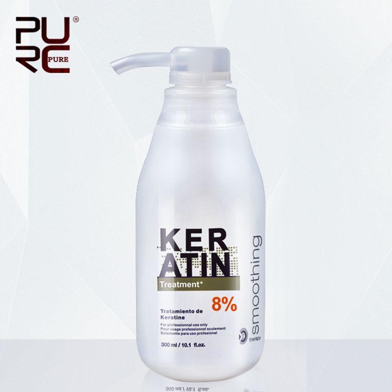 PURC Traitement Kératine Brésilienne défrisage 8% formol 300 ml Éliminer les frisottis et faire brillant et lisse cheveux traitement