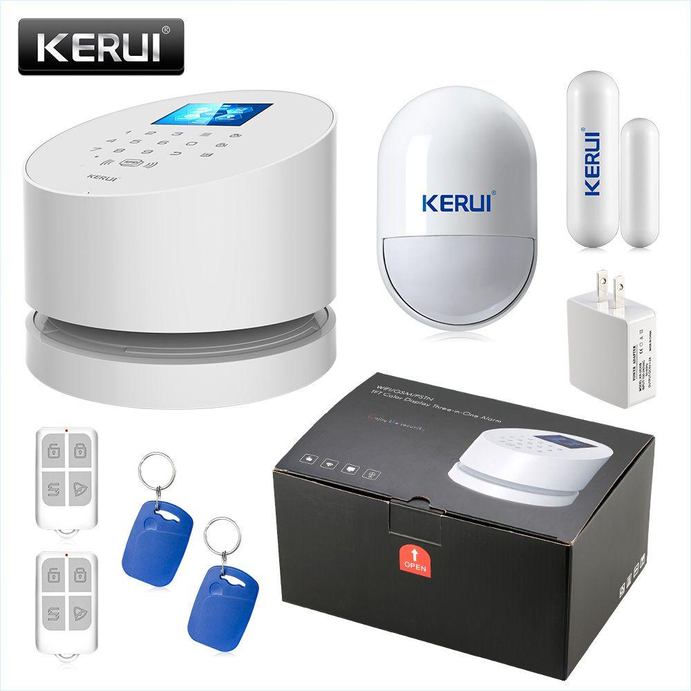 KERUI W2 2.4 Inch Screen WIFI GSM PSTN Alarm System Security RFID Card Disalarm Motion Detector Smart Home Burglar Alarm System