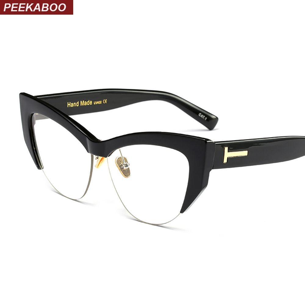 Peekaboo transparent cat eye glasses frames for women 2018 black leopard beige semi rimless half rim eyeglasses frame women