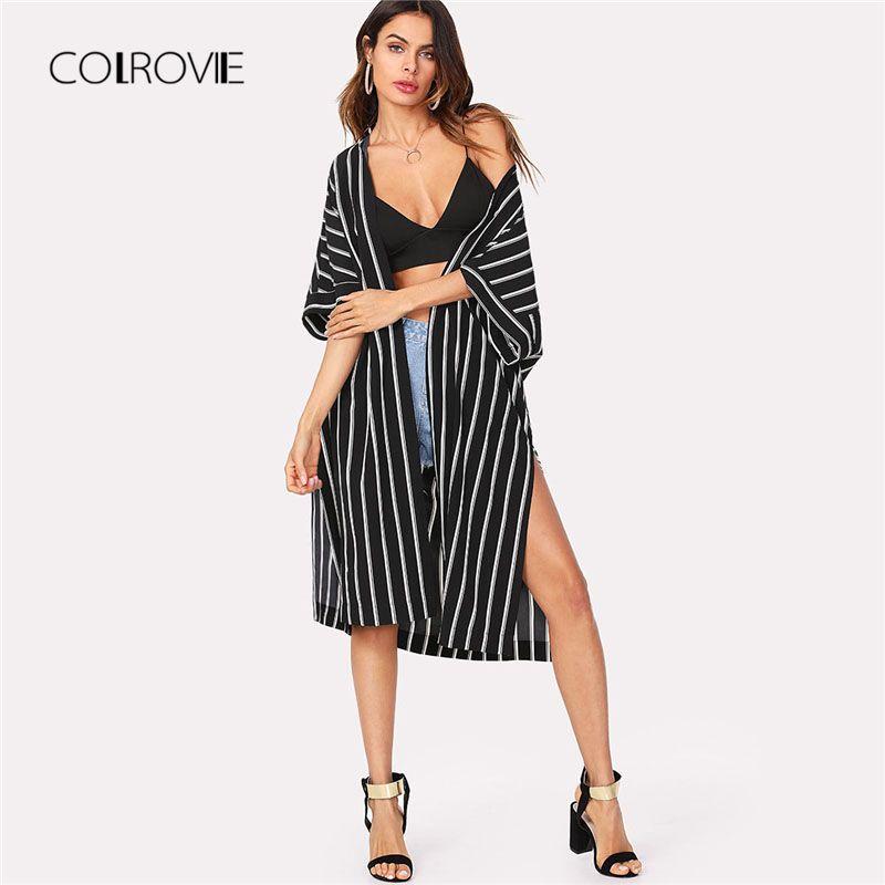 COLROVIE <font><b>Vertical</b></font> Striped Longline Kimono 2018 New Arrival Summer 3/4 Sleeve Split Casual Kimono Black And White Women Clothing
