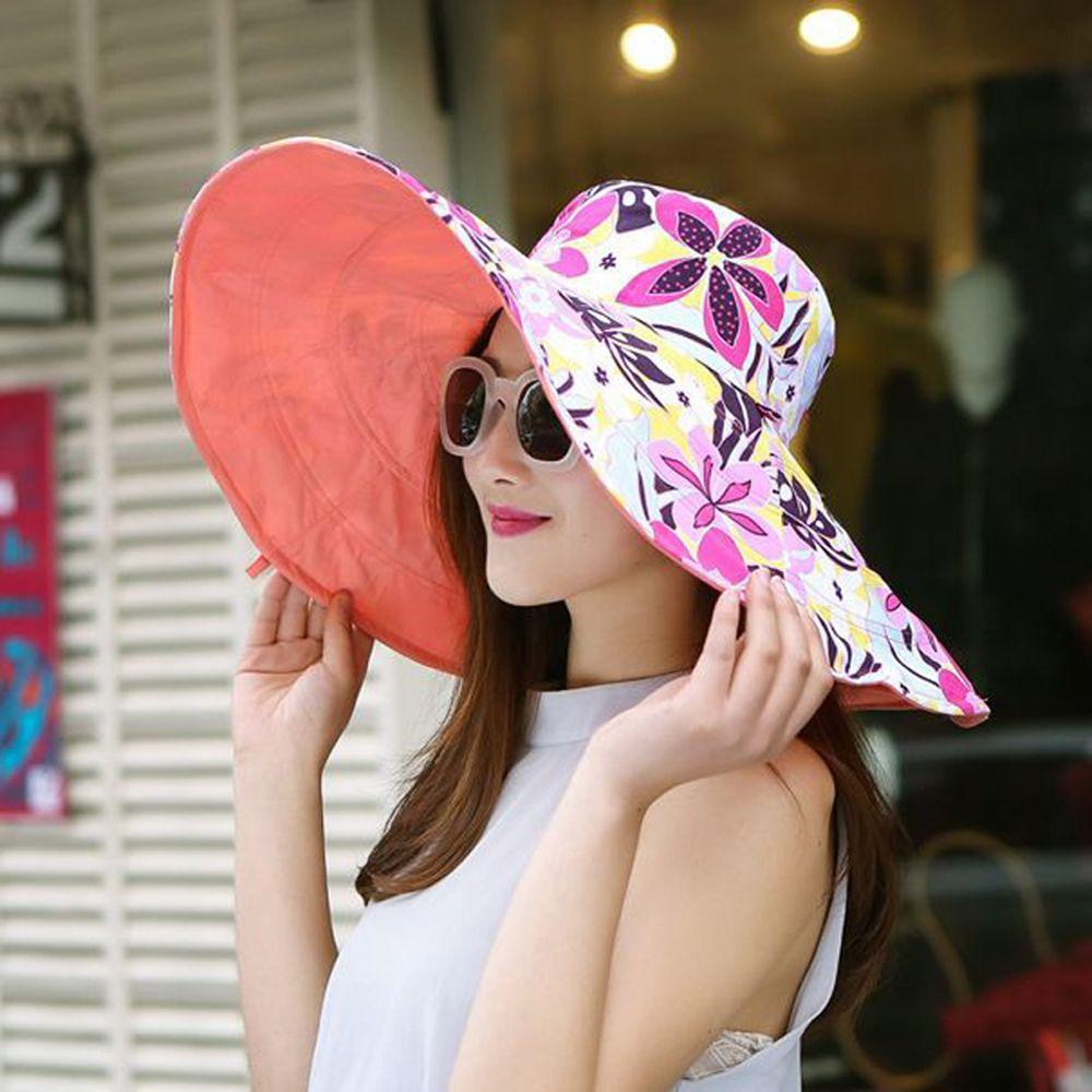 2018 été grand bord plage soleil chapeaux pour femmes protection UV femmes casquettes chapeau avec grande tête pliable style dame soleil chapeau