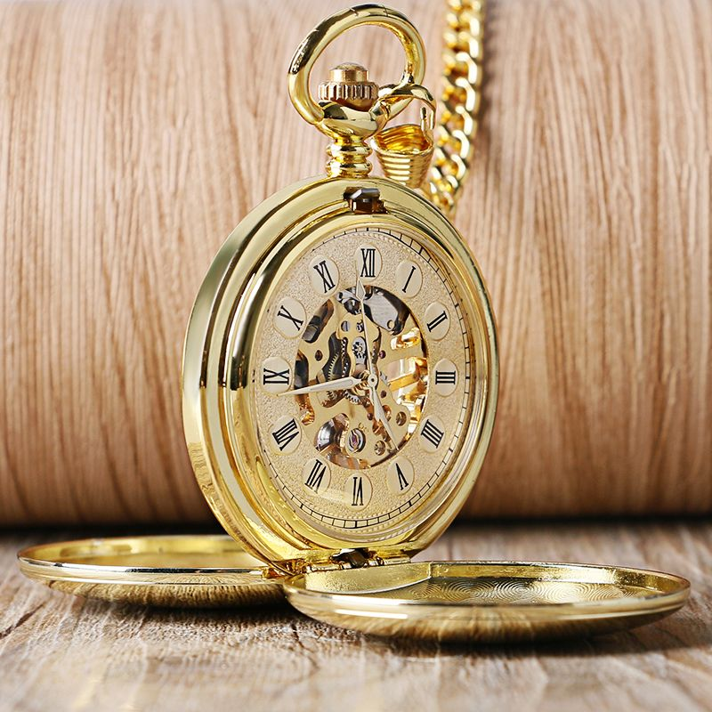 Golden Fashion Smooth Double Full Hunter Case Roman Number Skeleton Steampunk Hand-wind Mechanical Fob Pocket Watches