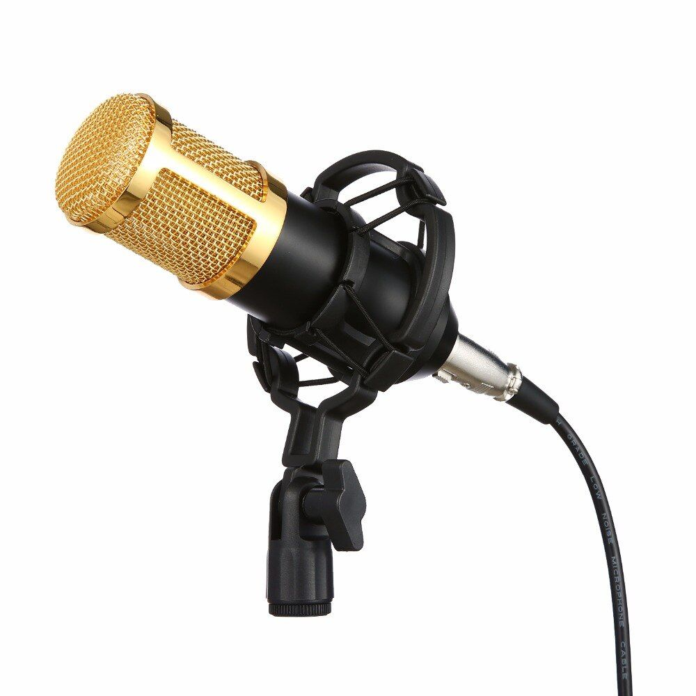 Mindkoo 2018 Stylish BM 800 Condenser Wired Recording Microphone <font><b>Sound</b></font> Studio with Shock Mount for Recording Kit KTV Karaoke